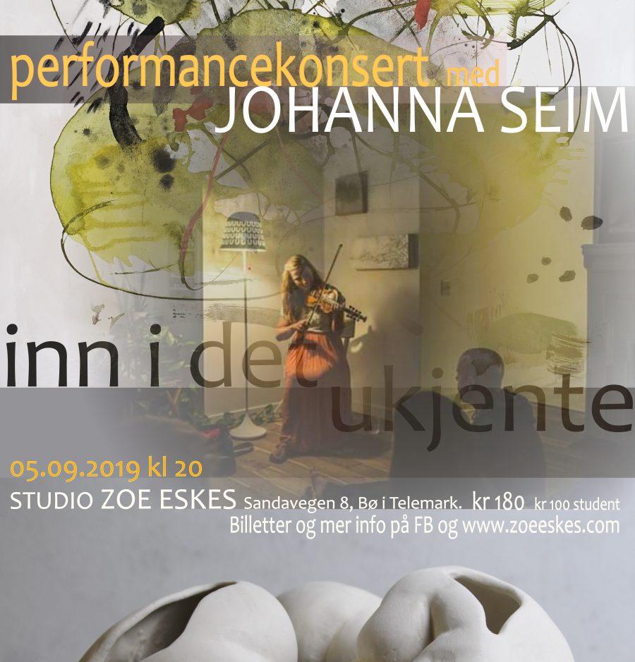 plakat utstilling inn i det ukjente johanna seim performance konsert new